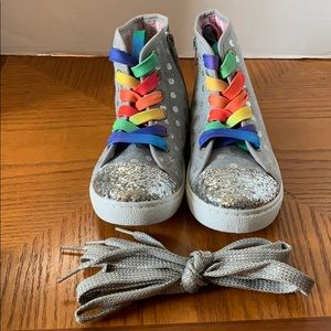 Avon Girls Silver Shimmer High Top Sneakers NEW